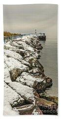 Pierhead Light On Lake Michigan Beach Towel