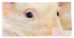 Pig Art - Pretty In Pink Beach Towel by Sharon Cummings