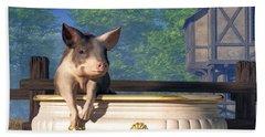 Beach Towel featuring the digital art Pig In A Bathtub by Daniel Eskridge