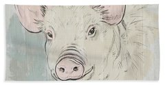 Pig Portrait-farm Animals Beach Towel