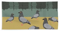 Pigeons Day Out Beach Towel by Nicole Wilson