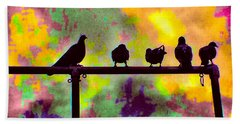 Pigeons In Abstract 2 Beach Towel
