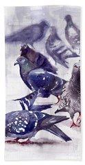 Pigeons Watercolor Beach Towel