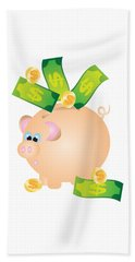 Piggy Bank With Bills And Coins Illustration Beach Towel