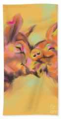 Beach Towel featuring the painting Piggy Love by Go Van Kampen