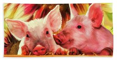 Piglet Playmates Beach Sheet by Tina LeCour