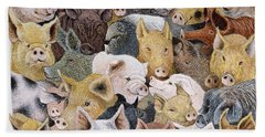 Pigs Galore Beach Sheet by Pat Scott