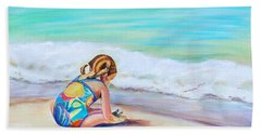 Beach Towel featuring the painting Pigtail Cutie by Patricia Piffath