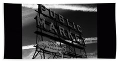 Pikes Place Market Sign Beach Sheet