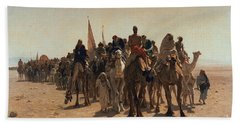 Pilgrims Going To Mecca Beach Towel by Leon Auguste Adolphe Belly