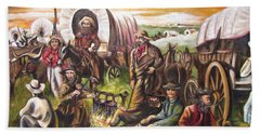 Pilgrims On The Plain Beach Towel by Sigrid Tune