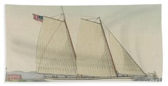 Pilot Boat William J. Romer, Captain Mcguire, Leaving For England February 9th 1846  Beach Towel