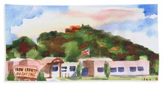 Beach Towel featuring the painting Pilot Knob Mountain W401  by Kip DeVore