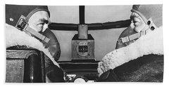 Pilots In B-25 Cockpit Beach Towel