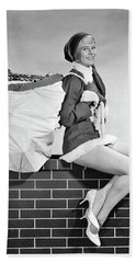 Pin-up Elf Girl On Chimney Beach Towel