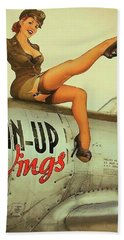 Pin Up Sexy Brunette Girl In Uniform Sitting On Airplane Beach Towel