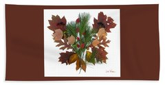 Pine And Leaf Bouquet Beach Towel