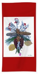 Beach Towel featuring the digital art Pine Cone Bouquet by Lise Winne