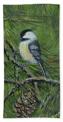 Pine Cone Chickadee Beach Sheet