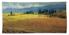 Beach Towel featuring the painting Pine Grove by Steve Henderson