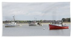 Beach Towel featuring the photograph Pine Point Boats by Kirkodd Photography Of New England