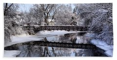 Pine River Foot Bridge From Superior In Winter Beach Towel
