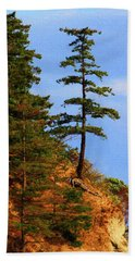 Pine Tree Along The Oregon Coast Beach Sheet by Tom Janca