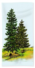 Pine Tree Nature Watercolor Ink Image 2b        Beach Towel