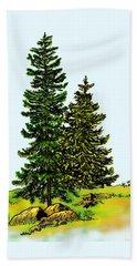 Pine Tree Nature Watercolor Ink Image 2b        Beach Sheet