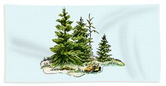 Pine Tree Watercolor Ink Image I         Beach Towel