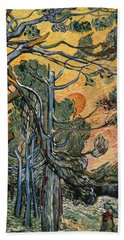 Pine Trees At Sunset Beach Towel