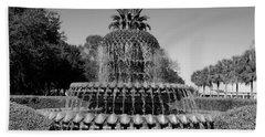 Pineapple Fountain Charleston Sc Black And White Beach Towel