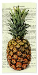 Pineapple In Color Illustration Beach Towel