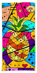 Beach Towel featuring the digital art Pineapple Popart By Nico Bielow by Nico Bielow