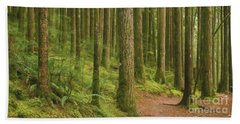 Pines Ferns And Moss Beach Towel by Phil Perkins