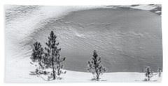 Pines In Snow Drifts Black And White Beach Towel