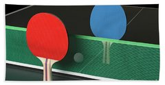 Ping Pong Paddles On Table, Standing Upright Beach Sheet