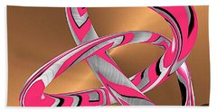 Pink Abstract On Gold Beach Towel