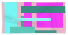 Pink And Blue Blocks Abstract Beach Towel