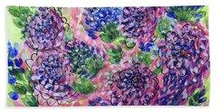 Pink And Blue Flower Flurry Beach Sheet