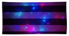 Pink And Blue Striped Galaxy Beach Sheet