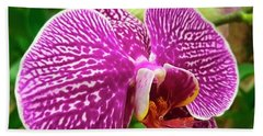 Pink And Green Orchid Floral Garden 957 Beach Towel