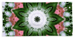 Beach Towel featuring the digital art Pink And Green Floral by Shawna Rowe