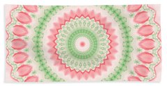 Pink And Green Mandala Fractal 003 Beach Towel