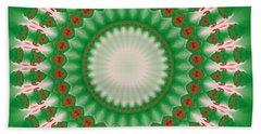 Pink And Green Mandala Fractal 005 Beach Towel