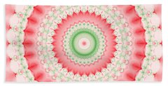Pink And Green Mandala Fractal Beach Towel