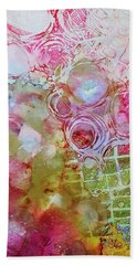 Pink And Green Patterns Beach Towel