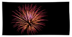 Pink And Orange Fireworks Beach Towel