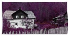 Beach Towel featuring the photograph Pink And Purple Enchanted Cottage by Brooke T Ryan