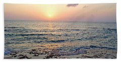 Pink And Purple Sunset Over Grand Cayman Beach Towel by Amy McDaniel